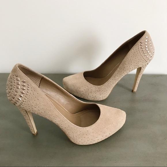 c773ad1910a9 BCBGeneration Shoes - BCBGeneration Neutral Suede Studded Platform Heels